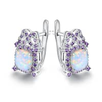 Gold Plated White Fire Opal and Purple Quartz Earrings