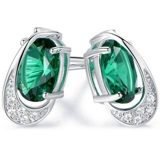 Gold Plated Green Quartz Cubic Zirconia Stud Earrings