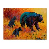 Marion Rose 'Double Trouble Black Bear' Canvas Art - blue/brown/yellow