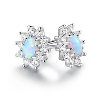 Gold Plated White Fire Opal & CZ Flower Stud Earrings