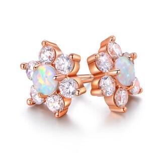 Gold Plated White Fire Opal & Cubic Zirconia Flower Stud Earrings