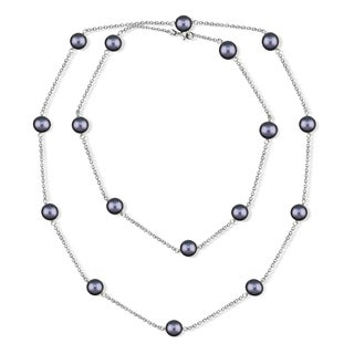 DaVonna Silver Chain and Black Baroque Freshwater Pearl 36-inch Necklace (7-7.5 mm)