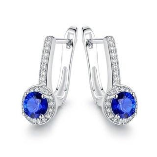 Gold Plated Blue Spinel Hoop-Earrings
