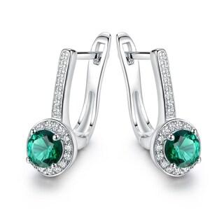 Gold Plated Crystal & Nano Emerald Quartz Earrings