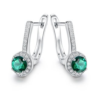 Gold Plated Crystal & Nano Emerald Quartz Earrings