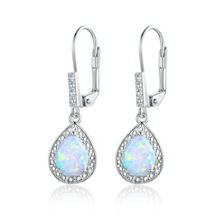 Gold Plated White Fire Opal & Diamond Accent Teardrop Earring
