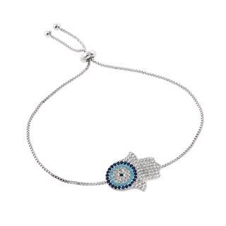Eternally Haute Pave Turquoise Evil Eye Hamsa Slider Bracelet