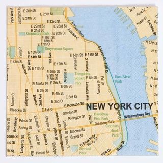 New York Doodles Destinations City Map Beverage Napkins