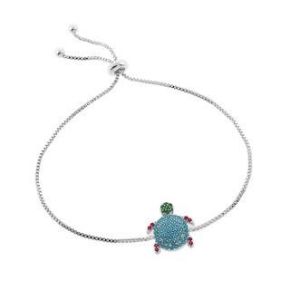 Eternally Haute Pave Turquoise Turtle Slider Bracelet