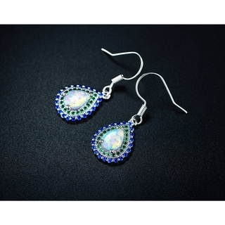 Gold Plated Nano Emerald & Spinel Teardrop Earrings with White Fire Opal