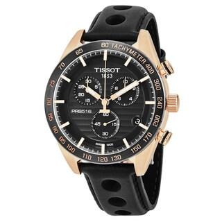 Tissot Men's T100.417.36.051.00 'PRS 516' Black Dial Black Leather Strap Chronograph Swiss Quartz Watch
