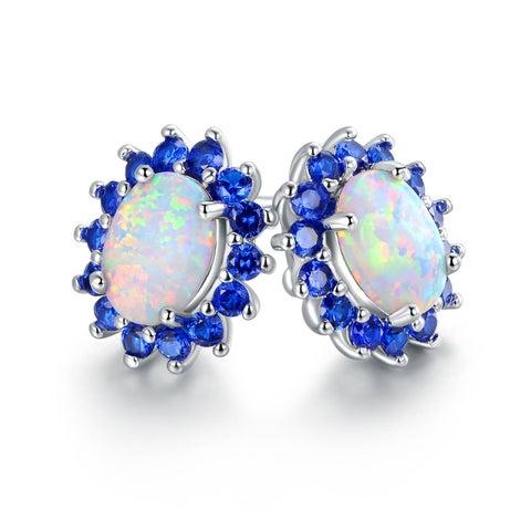 Gold Plated White Fire Opal & Blue Quartz Flower Stud Earring