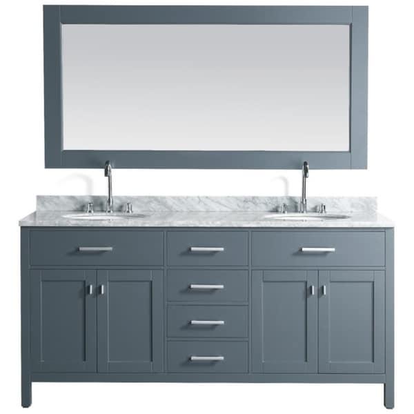Design Element London Grey 72-inch Double Sink Vanity Set With Mirror