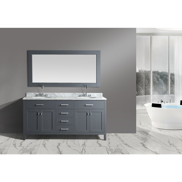 London Grey 72-inch Double Sink Vanity Set With Mirror