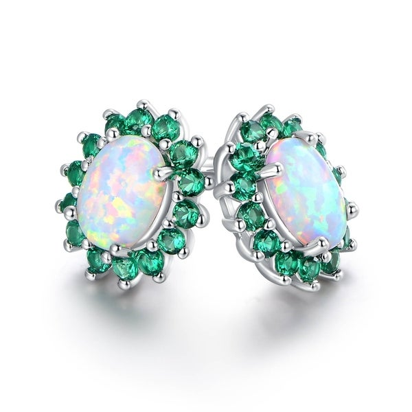 Fashion Jewelry White Gold Plated Blue White Fire Opal Stud Earrings For Women AH55vBe