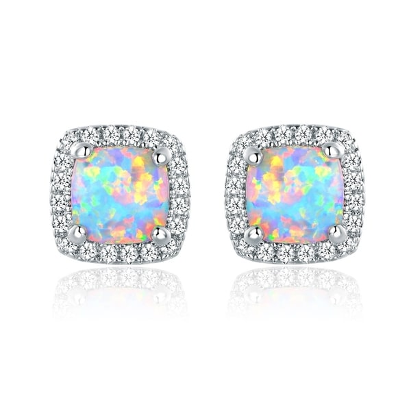 birthstone detail man stud fire body earring made opal synthetic sterling jewelry product