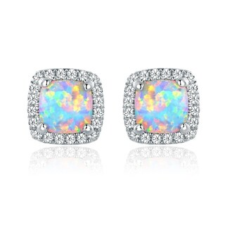Gold Plated Fire Opal Stud Earrings