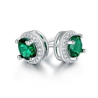 Gold Plated Round Nano Emerald Quartz Stud Earrings