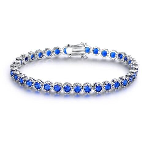 Gold Plated Blue Spinel Crown Tennis Bracelet