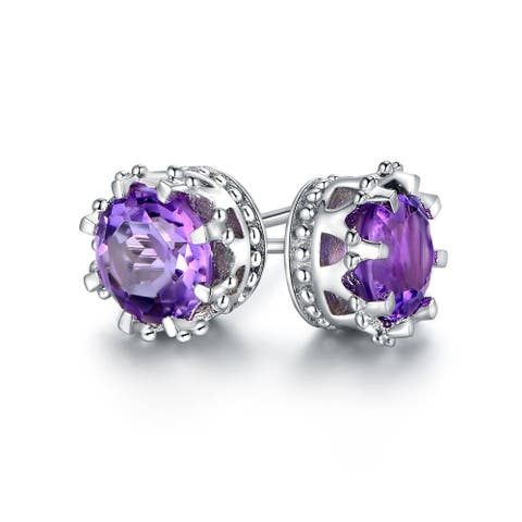 Gold Plated Amethyst Crown Stud Earrings