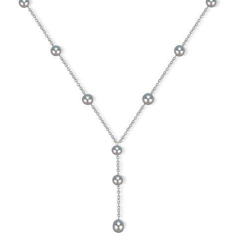 DaVonna Sterling Silver Grey Freshwater Pearl Necklace (7-8 mm)