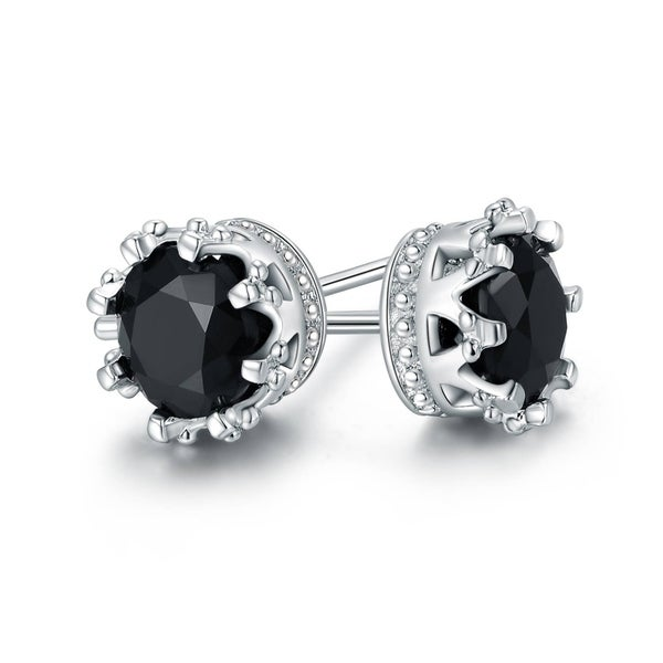 2216831ad Shop Gold Plated Onyx Crown Stud Earrings - On Sale - Free Shipping ...
