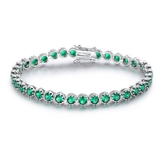 Gold Plated Nano Emerald Quartz Crown Tennis Bracelet
