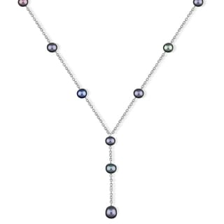 DaVonna Sterling Silver Black Freshwater Pearl Necklace (7-7.5 mm)