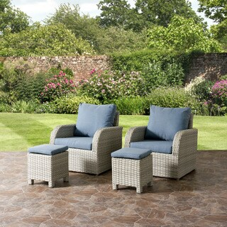 Brisbane Grey Wicker 4-piece Weather-Resistant Patio Set