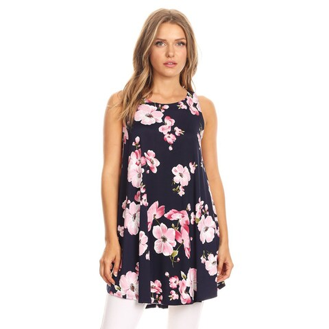 Women's Sleeveless Floral Tunic Top