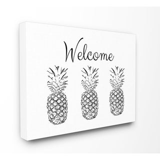 Welcome Pineapple Line Drawing Stretched Canvas Wall Art