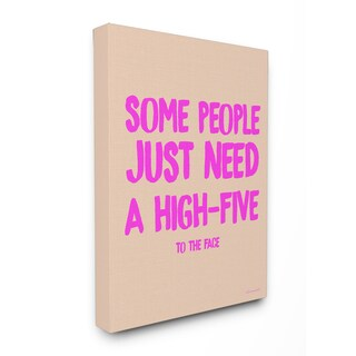 lulusimonSTUDIO High-Five To The Face Humor Typography Stretched Canvas Wall Art