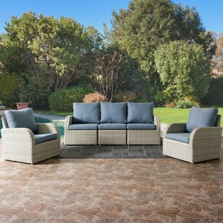 Brisbane 5-piece Blended Grey Weave Wicker Sofa and Chairs Patio Set