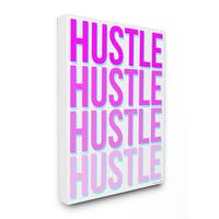 lulusimonSTUDIO Hustle Neon Typography Stretched Canvas Wall Art