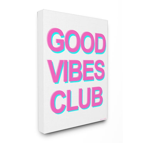 lulusimonSTUDIO GOOD VIBES Neon Typography Stretched Canvas Wall Art