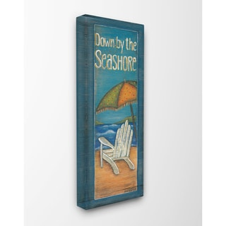 Down by the Seashore Adirondack Chair Illustration Stretched Canvas Wall Art