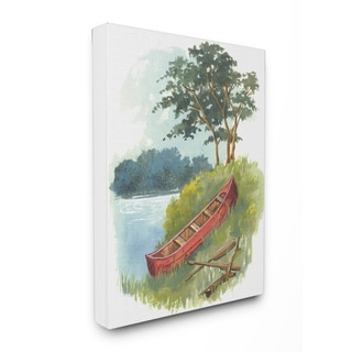 The Canoe Trip Illustration Stretched Canvas Wall Art