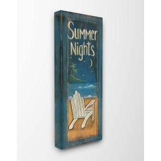 Summer Nights Adirondack Chair Illustration Stretched Canvas Wall Art