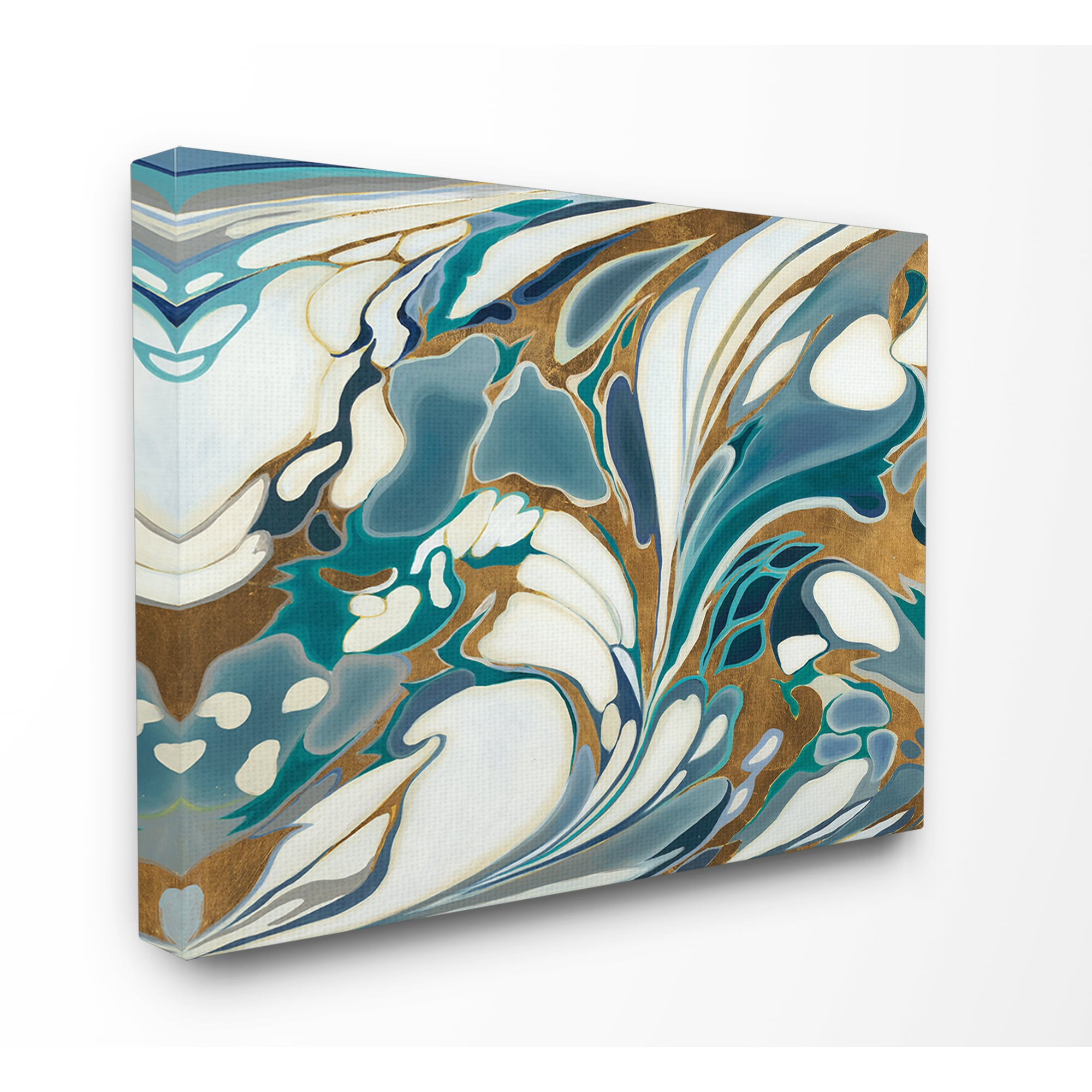 Blue And Gold Water Marble Stretched Canvas Wall Art Overstock 16294315