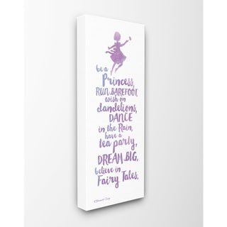 Believe In Fairy Tales Purple Watercolor Typography Stretched Canvas Wall Art - 10 x 24