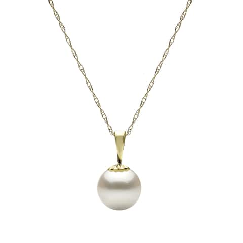 DaVonna 14k Yellow Gold White Round Freshwater Pearl Necklace Chain Pendant 18""