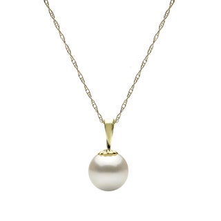 """DaVonna 14k Yellow Gold White Round Freshwater Pearl Necklace Chain Pendant 18"""""""