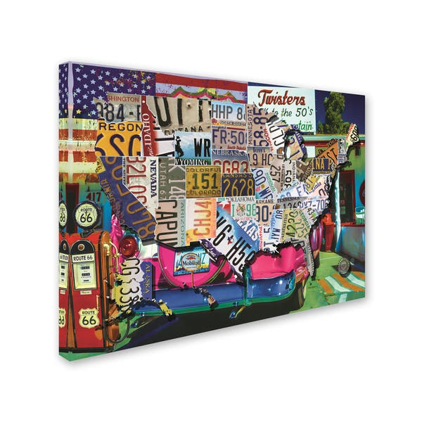 Masters Fine Art \'USA License Plate Map Route 66\' Canvas Art