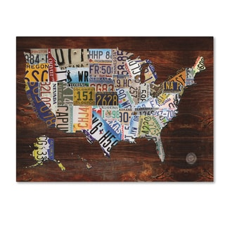 Masters Fine Art 'USA License Plate Map on  Wood' Canvas Art