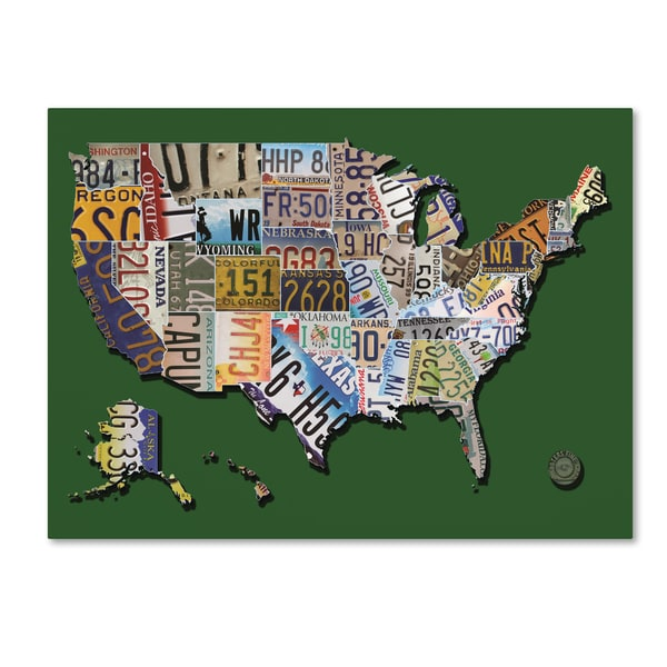 Masters Fine Art 'USA License Plate Map on Billiard Green' Canvas Art