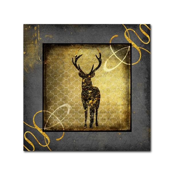 LightBoxJournal 'Black & Gold - Stag' Canvas Art