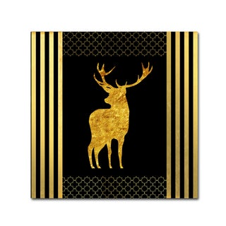 LightBoxJournal 'Black & Gold - Feathered Fashion Stag' Canvas Art