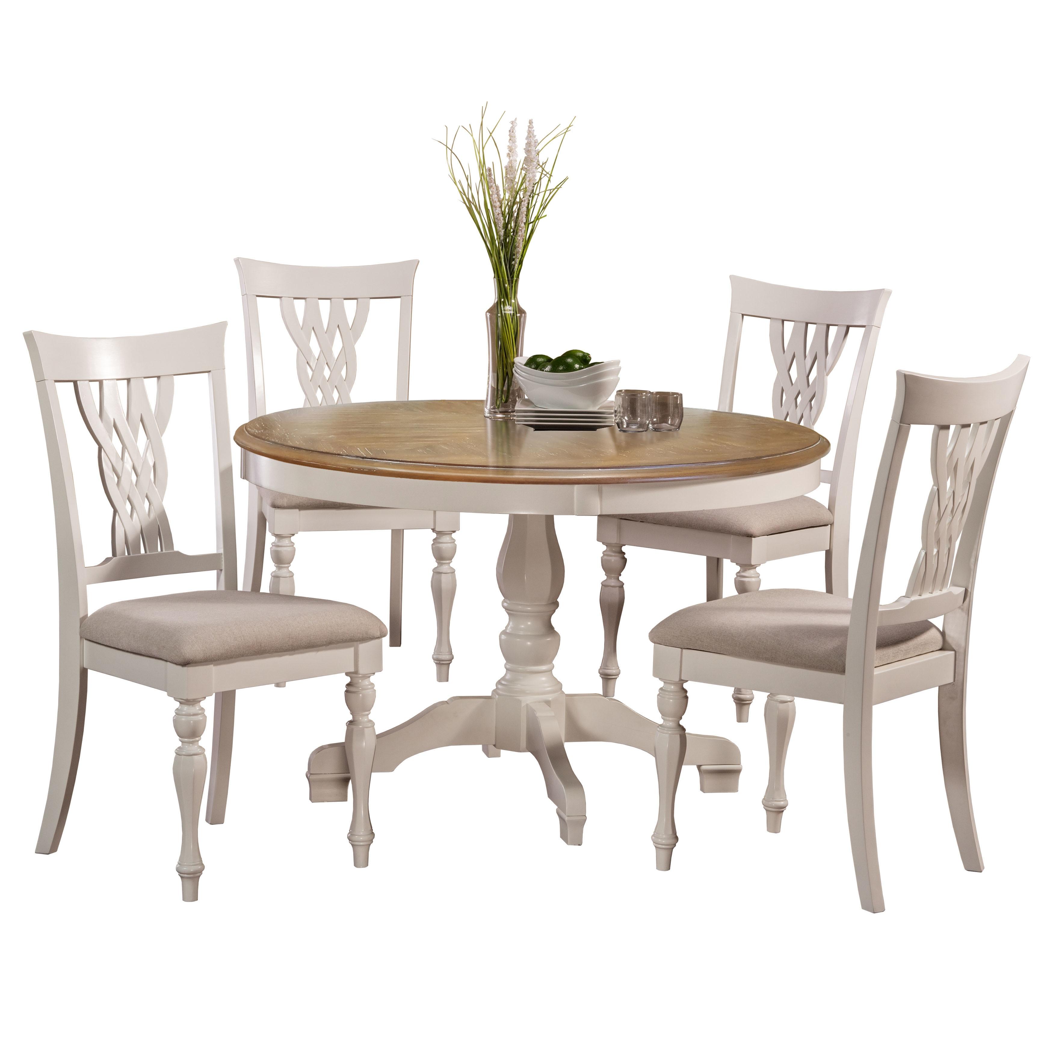 Hillsdale Furniture Embassy White 5 Piece Round Dining Set Overstock 16294838