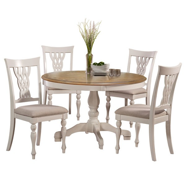 shop hillsdale furniture embassy white 5 piece round dining set free shipping today. Black Bedroom Furniture Sets. Home Design Ideas