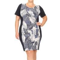 Women's Plus Size Botanical Pattern Bodycon Dress